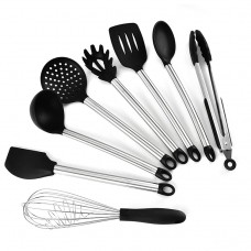 Stainless steel silicone utensils set