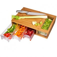 Cutting Board with 4 Bamboo Drawer