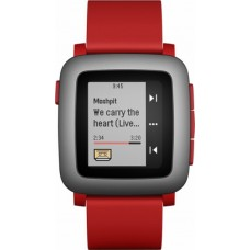 Pebble - Time Smartwatch 38mm Polycarbonate - Red Silicone
